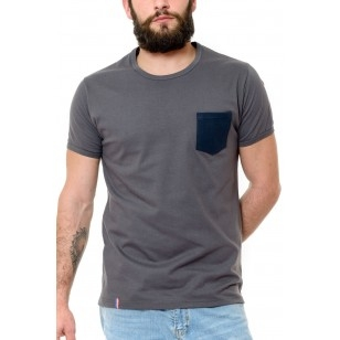 T-SHIRT HOMME GRIS POCHE BLEUE - Made in France & Coton Bio
