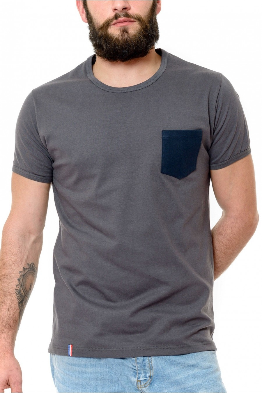 Tee shirt Homme Gris - Made in France - Bio