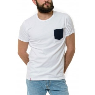 T-SHIRT HOMME BLANC POCHE BLEUE - Made in France & Coton Bio