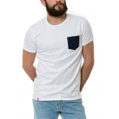 T-shirt Homme Blanc Poche