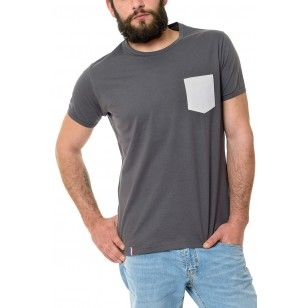T-SHIRT HOMME COL ROND GRIS POCHE BLANCHE - Made in France & Coton Bio
