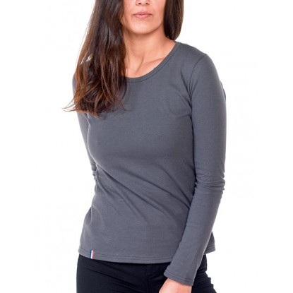 T-SHIRT FEMME MANCHE LONGUE COL ROND GRIS