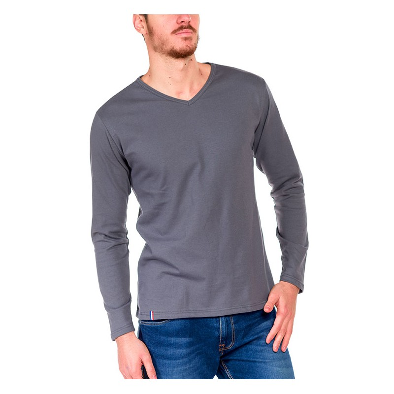 tshirt manche longue gris made in france bio le t shirt propre. Black Bedroom Furniture Sets. Home Design Ideas