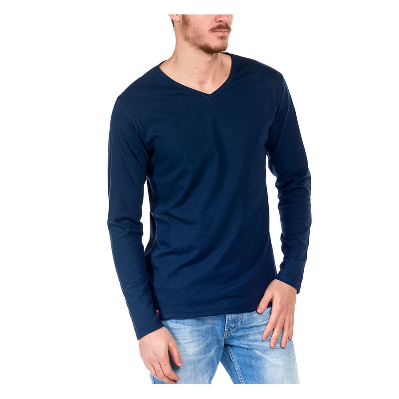 tshirt manche longue bleu made in france bio le t. Black Bedroom Furniture Sets. Home Design Ideas