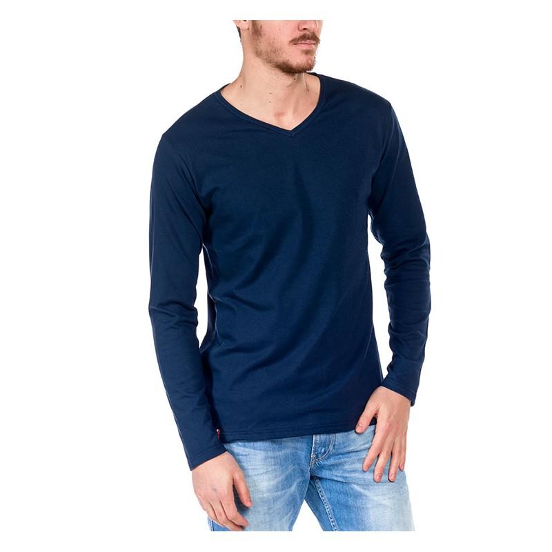 tshirt manche longue bleu made in france bio le t shirt propre. Black Bedroom Furniture Sets. Home Design Ideas
