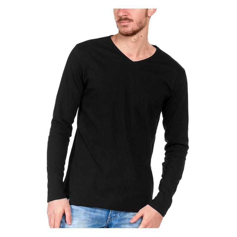 Tshirt manche longue Noir Made in France Bio Le t