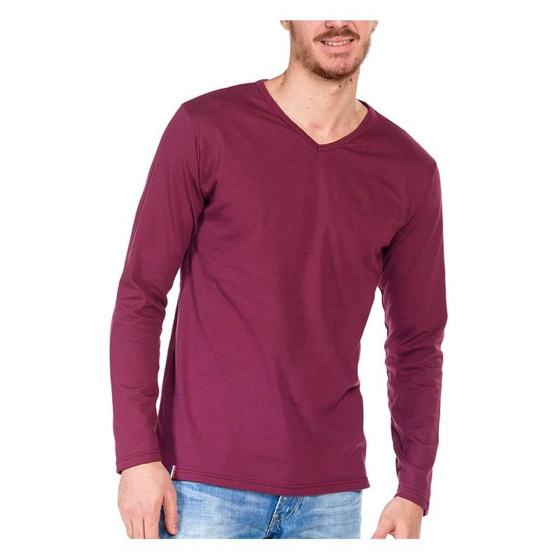 tshirt manche longue bordeaux made in france bio le t shirt propre. Black Bedroom Furniture Sets. Home Design Ideas