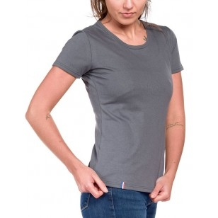 T-SHIRT FEMME COL ROND GRIS UNI - Made in France & Coton Bio