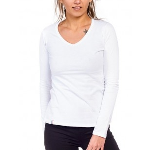 T-SHIRT FEMME MANCHE LONGUE COL V BLANC UNI - Made in France & Coton Bio