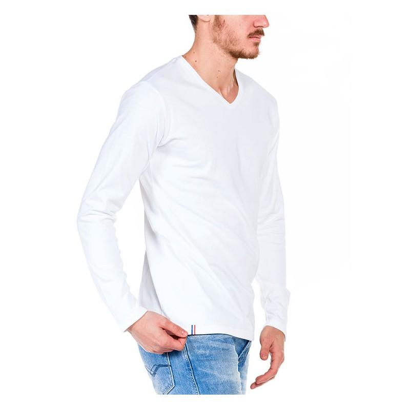 tshirt manche longue blanc made in france bio le t shirt propre. Black Bedroom Furniture Sets. Home Design Ideas