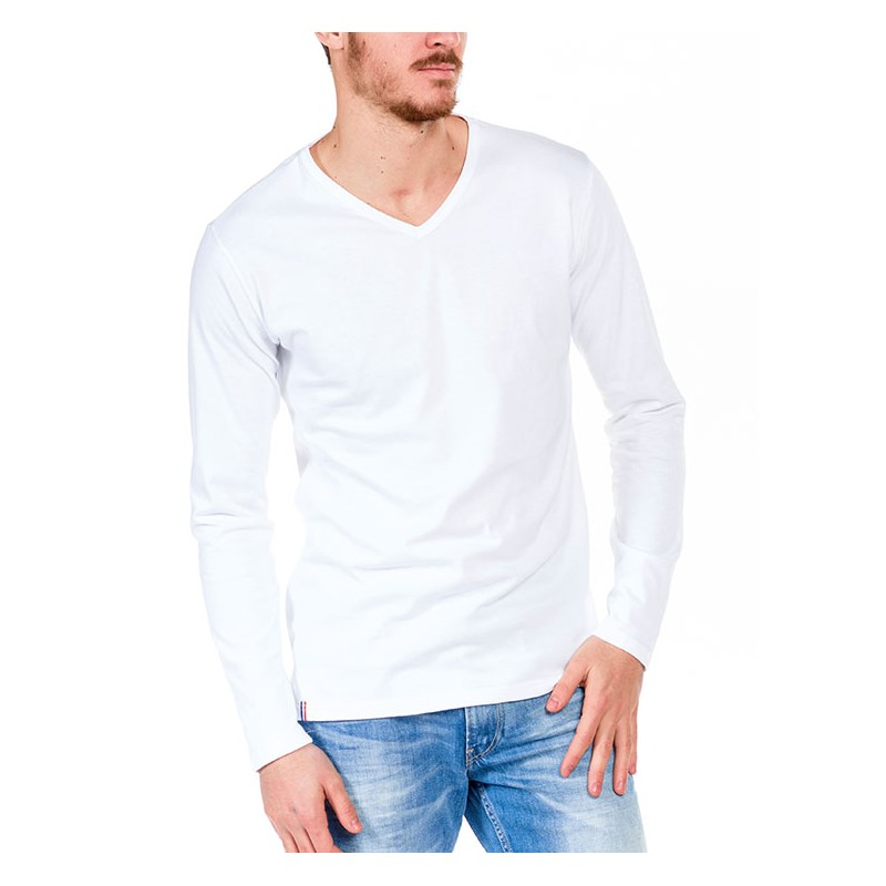 Tshirt manche longue Blanc Made in France Bio Le t