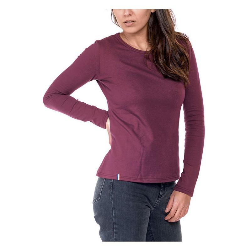 Tshirt manche longue Bordeaux Made in France Bio Le t 04b88eb501db