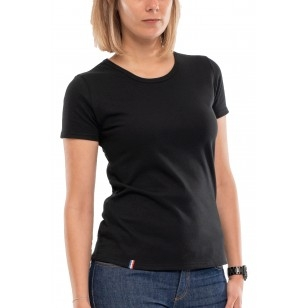 T-SHIRT FEMME COL ROND NOIR UNI - Made in France & Coton Bio