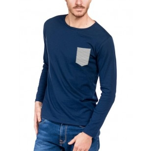 T-SHIRT HOMME MANCHE LONGUE BLEU POCHE MARINIERE - Made in France & Coton Bio