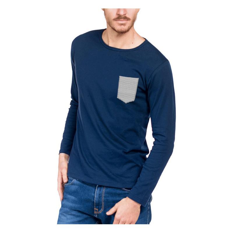 tshirt homme bleu marini re made in france bio le t. Black Bedroom Furniture Sets. Home Design Ideas