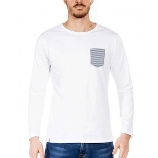 T-SHIRT HOMME MANCHE LONGUE BLANC POCHE MARINIERE - Made in France & Coton Bio