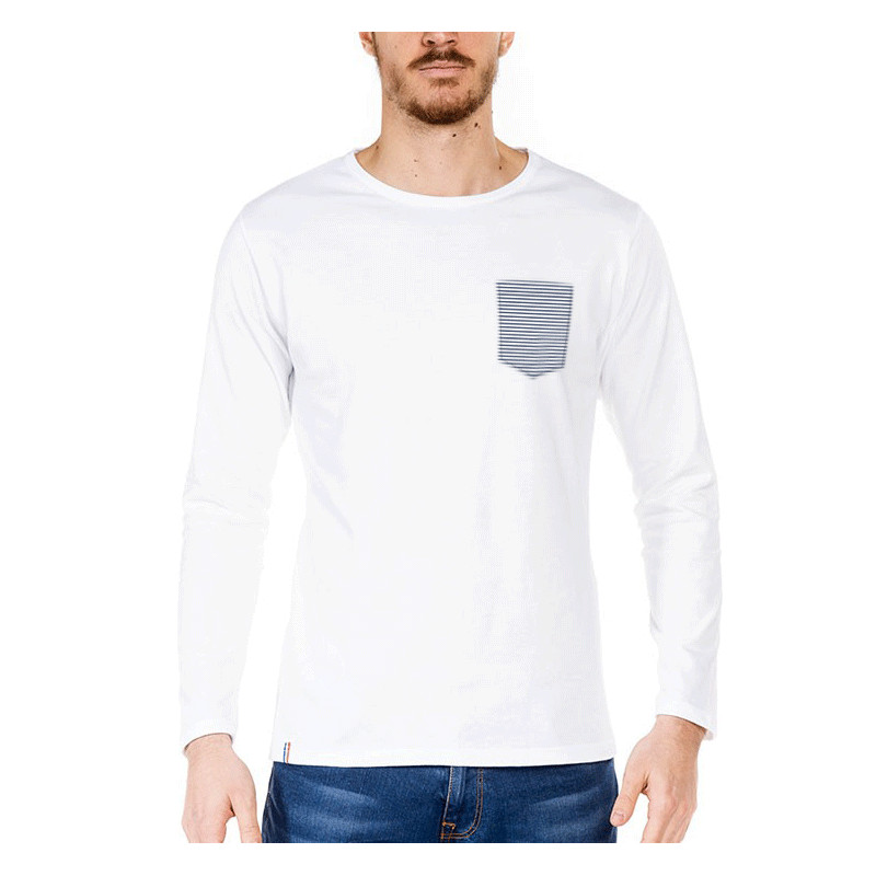 tshirt homme blanc mariniere made in france bio le t. Black Bedroom Furniture Sets. Home Design Ideas
