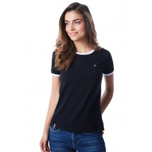 T-SHIRT FEMME NOIR BIAIS BLANC - Made in France & Coton Bio
