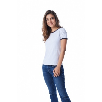 T-SHIRT FEMME BLANC BIAIS BLEU - Made in France & Coton Bio
