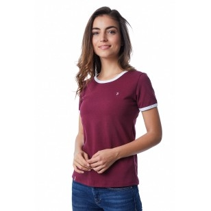T-SHIRT FEMME BORDEAUX BIAIS BLANC - Made in France & Coton Bio