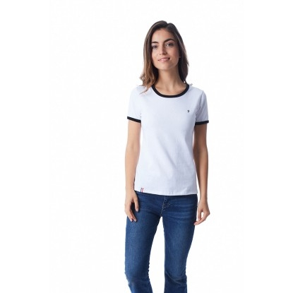 T-SHIRT FEMME BLANC BIAIS NOIR - Made in France & Coton Bio