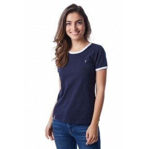 T-SHIRT FEMME BLEU BIAIS BLANC - Made in France & Coton Bio